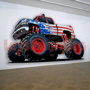 Chevy 4x4 Red White Blue Lift Kit Muscle Car WALL DECAL REMOVABLE REPOSITIONABLE