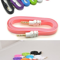New Colorful 3.5mm Stereo Auxiliary Cable Male to Male Flat Audio Music Aux Cord = 5979138113