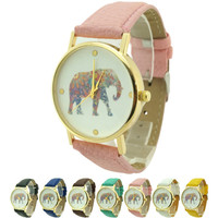 Ornate Elephant Print Watch - Various Colors