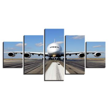 5 Pieces Pcs Panels Jet Airplane Takeoff Runway Pilot Wall Art Canvas Panel