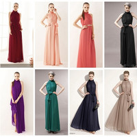 Womens Girls Chiffon Sleeveless Ruffle Neck Evening Ball Gown Long Maxi Boho Beach Dress Clubwear OL Prom Gown Gift Causal Formal long dress Free size Plus size = 1705284868