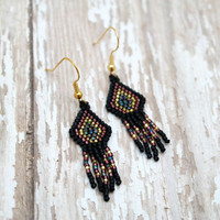 Black, Gold And Amethyst Geometric Beaded Earrings