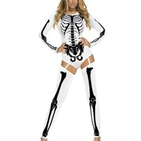 White & Black Long Sleeve Skeleton Bodysuit Costume with Thigh Highs