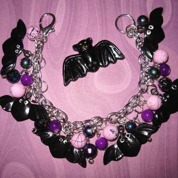 Bat Charm Bracelet Halloween Jewelry Beads Trinkets OOAK Statement Piece Spooky Cute Psychobilly Goth Punk