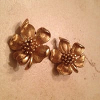 Vintage Trifari Earrings Gold Dogwood Flower Costume Jewelry