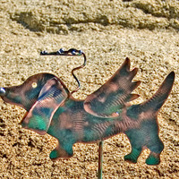 Basset Hound Garden Stake / Metal Dog Angel / Garden Copper Art / Pet Grave Marker / Pet Memorial / Outdoor / Dog Memorial Stake / Patina