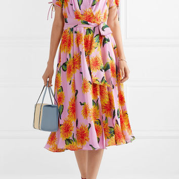 Carolina Herrera - Floral-print silk crepe de chine wrap midi dress