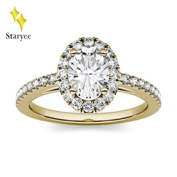 Test Positive 18K Solid Yellow Gold 0.9ctw 7*5mm DEF Oval Brilliant Engagement Band Moissanite Lab Diamond Halo Rings For Women