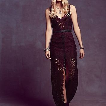 Free People Womens Lace Column Dress