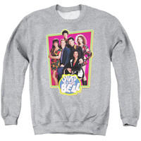 SAVED BY THE BELL/SAVED CAST - ADULT CREWNECK SWEATSHIRT - ATHLETIC HEATHER -