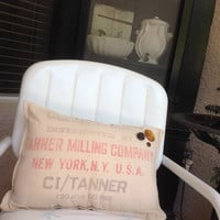 Vintage flour sack New York CO pillow, vintage pillows, vintage flour sacks