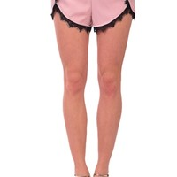 Pink & Black Lace Drawstring Shorts at Blush Boutique Miami - ShopBlush.com