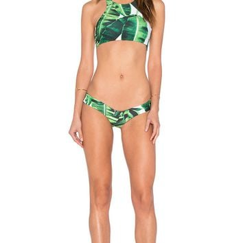 Leave Print High Neck Bikini 9779