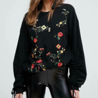 Autumn cotton embroidered elastic tether women's sweater