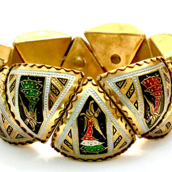 Art Deco Style Damascene Panel Bracelet, Intricate Detail Enamel Flamenco Dancers,  Arched or Domed Triangular Panels, Scallop Edges, Spain