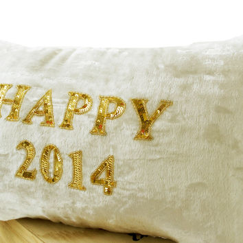 Gold Sequin Pillow -Cream velvet cushion -Decorative throw pillows with greetings - Couch cushion -Ivory lumbar pillow - 12x20