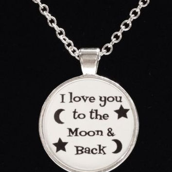 I Love You To The Moon And Back Crescent Star Best Friends Couple Quote Necklace
