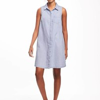 Sleeveless Chambray Shirt Dress for Women | Old Navy