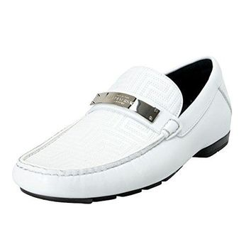 Versace Gianni Men's White Moccasins Loafers Slip On Shoes US 6.5 IT 39.5
