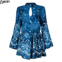 Women Blue High Neck Cut Out Front Open Back Sexy Long Sleeve Romper Playsuit 2016 New Summer Tie Waist Elegant Casual Clothing