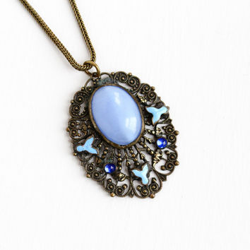 Vintage Art Deco Simulated Moonstone Cabochon & Rhinestone Brass Necklace - 1930s Blue Enamel Flower Filigree Pendant Costume Jewelry