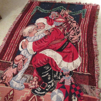 Santa Claus hugs boy tapestry Christmas throw blanket 100% cotton Vintage