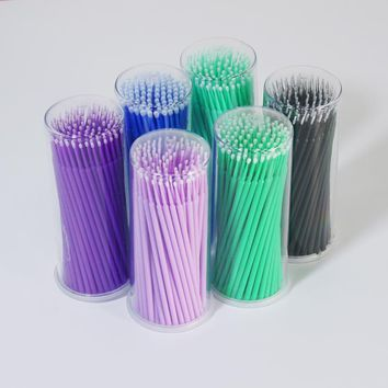 100Pcs/Pack Hot Lint Disposable Makeup Brushes Individual Lash Removing Tools Swab Micro brushes