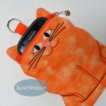 Ginger Orange Kitty Cat shaped padded device camera cell phone case