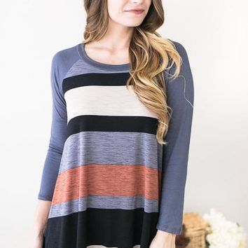 Striped Personality Easy Wear Tunic
