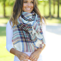 Teal Plaid Frayed Blanket Scarf