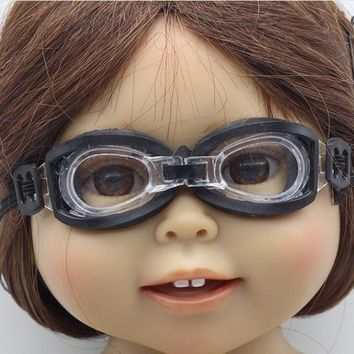 Swimming Pool beach 2018 New 2Pcs=1pcs glasses+1pcs box Swimming glasses diving eyeglass for BJD for 18 inch American Girl Doll AccessoriesSwimming Pool beach KO_14_1