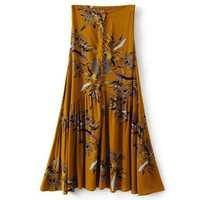 New Fashion Elastic Waist Skirts Flowers Birds Printed Empire Long Skirts Ankle-Length A-line Crepe Button