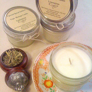 Mini mason jar 8 oz. Lemongrass Massage candle. Gift idea, stocking stuffer. Sesame Coconut Soy Vegan Lemongrass essential Oil massage oil.