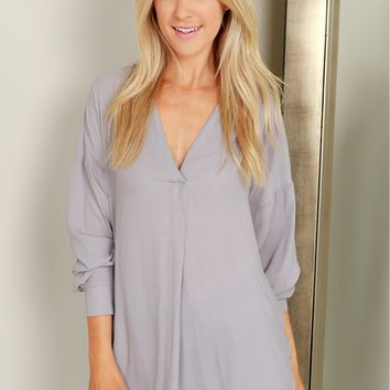High Low Blouse Heather Grey