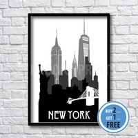 New York Print, New York Silhouette print, Wall art,City poster