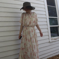 Vintage 70s Floral Maxi Dress Hippie Formal Ivory Print Grecian XS S