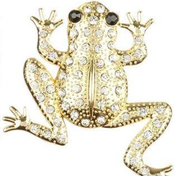 Pave Crystal Stone Metal Frog Pin And Brooch 36