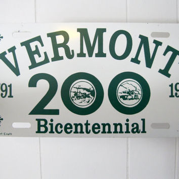 Vintage Vermont License Plate 200 year Bicentennial Souvenir Vanity Plate Auto Collectible