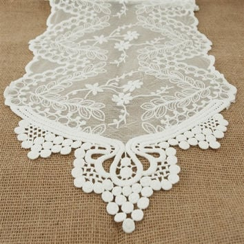 Floral Lace Table Runner, 12-Inch, 6-Feet, White