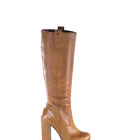 Tall Boots Caramel Brown OTK Leather GoGo Stacked Heel Boots Size 6