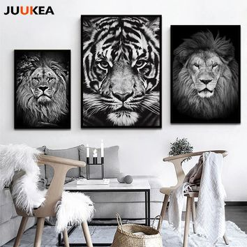 Modern Distinctive Black White Animal Tiger Lion Face HD Photography Art Canvas Print Painting Poster Wall Pictures Home Decor