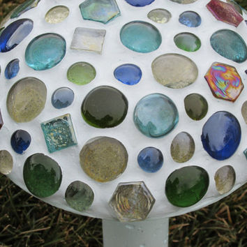Concrete mushroom, marble mosaic, garden decor, yard art, light blue, mushroom patch