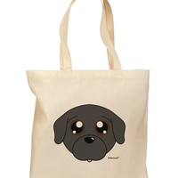 Cute Pug Dog - Black Grocery Tote Bag by TooLoud