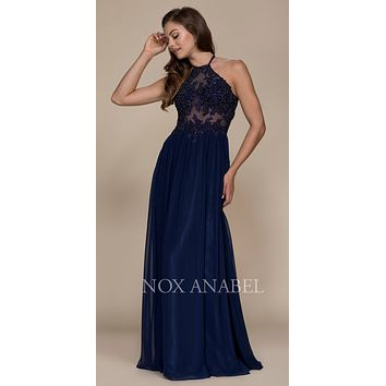 Halter Appliqued Bodice Long Prom Dress Cut Out Back Navy Blue