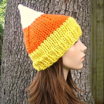 10% Off - Hand Knit Hat Womens Hat - Candy Corn Hat - Back To School Fall Fashion Autumn Fashion