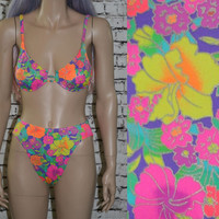 90s high waist bikini swimsuit bright neon floral print / grunge festival hipster cyber pastel goth swimsuit bra top push up XS S