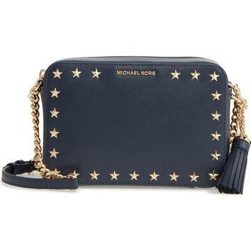 MICHAEL Michael Kors Medium Ginny Star Studded Leather Crossbody Camera Bag | Nordstro