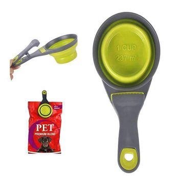 Sealing Clip Food Storage Collapsible 237ml Pet Cat Dog Food Scoop Spoon Measuring Cup Bag Pets Feeder Bowl Water Container