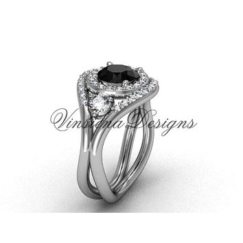 Unique 14kt white gold diamond wedding ring, engagement ring, Black Diamond VD8245