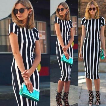 DCCKB62 Fashion Vertical stripe short sleeve Slim Stretch dress